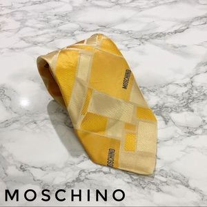 Moschino Gold Color Blocked Spellout Tie GUC